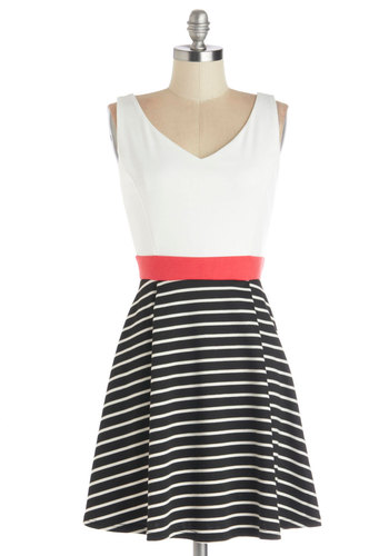 Started from the Bobbin Dress - Knit, Mid-length, Pink, Black, White, Stripes, Casual, A-line, Tank top (2 thick straps), Good, V Neck
