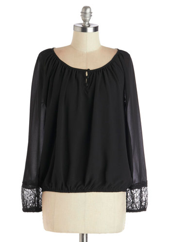 Ethereal and Now Top - Chiffon, Sheer, Woven, Short, Black, Solid, Embroidery, Casual, Long Sleeve, Scoop, Black, Long Sleeve, Boho