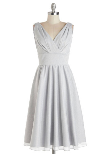Bright and Bubbly Dress by Stop Staring! - Knit, Long, Silver, Solid, Ruching, Wedding, Cocktail, Bridesmaid, A-line, Sleeveless, Best, V Neck, Prom