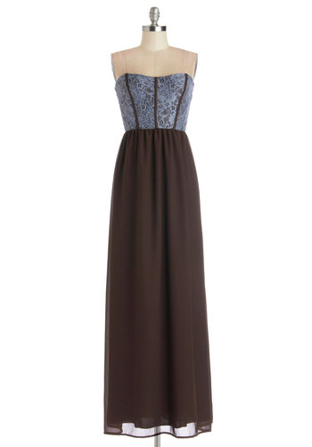 Enchanting Introductions Dress in Brown - Knit, Woven, Long, Brown, Blue, Lace, Maxi, Strapless, Better, Party