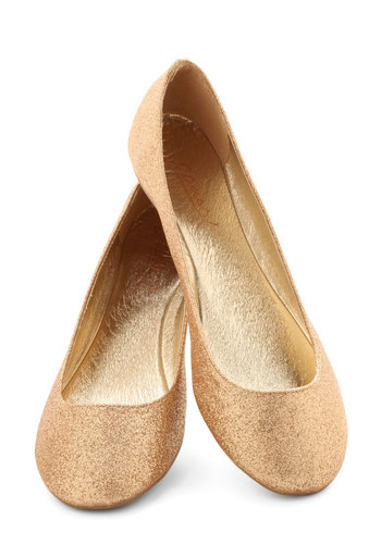 Real Go-Glitter Flat - Gold, Casual, Glitter, Prom, Party, Cocktail, Girls Night Out, Holiday Party, Luxe