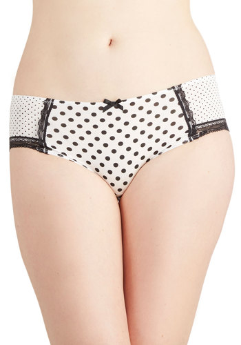 Miss Optimistic Undies - Black, Polka Dots, Bows, Trim, Film Noir, Sheer, Knit, White