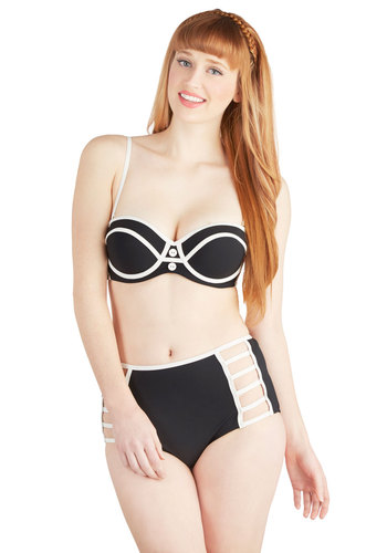 Down By the Sea Swimsuit Top in Black - Knit, Black, White, Buttons, Trim, Strapless, Beach/Resort, High Waist, Summer