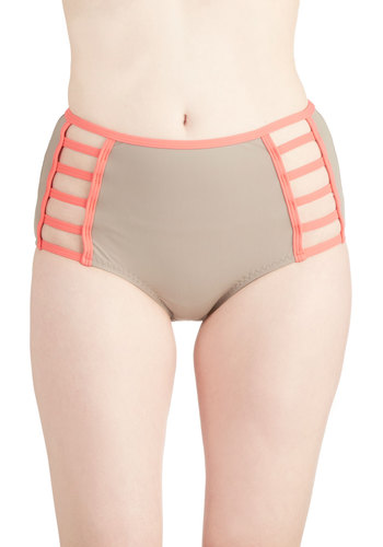 Down By the Sea Swimsuit Bottom in Tan - Sheer, Knit, Tan, Coral, Solid, Cutout, Trim, Beach/Resort, High Waist