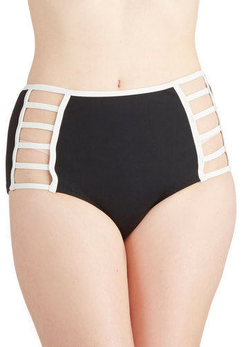 Down By the Sea Swimsuit Bottom in Black - Knit, Black, White, Cutout, Trim, High Waist, Beach/Resort