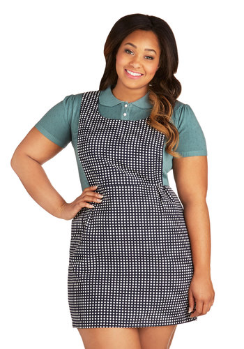 Dotted and Adorable Jumper in Plus Size - Woven, Black, White, Polka Dots, Pleats, Casual, Sleeveless