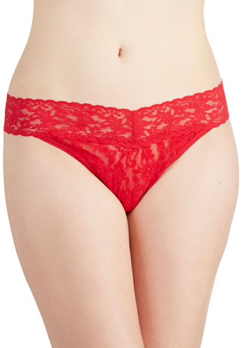 Hanky Panky Bright From the Start Thong in Red by Hanky Panky - Sheer, Knit, Red, Solid, Lace, Valentine's, Lace