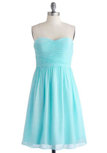 Under a Blue Sky Dress - Woven, Chiffon, Short, Blue, Solid, Prom, Wedding, Bridesmaid, Pastel, A-line, Strapless, Better, Sweetheart, Ruching, Homecoming