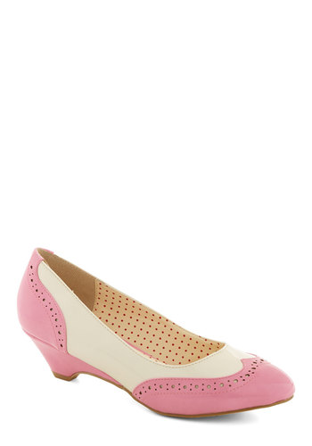 Sweet Spectator Heel in Glossy Bubblegum by Bait Footwear - Mid, Faux Leather, Pink, White, Work, Menswear Inspired
