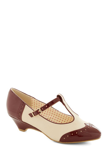 Care to Dance? Wedge in Wine by Bait Footwear - Mid, Faux Leather, Red, Tan / Cream, Menswear Inspired