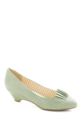 So What's the Scoop? Heel in Mint by Bait Footwear - Low, Faux Leather, Mint, Solid, Pleats, Vintage Inspired, 20s, Better