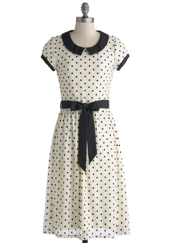 Winsome Weekend Dress - Knit, Woven, Long, White, Black, Polka Dots, Peter Pan Collar, Belted, Casual, A-line, Cap Sleeves, Good, Collared, Work