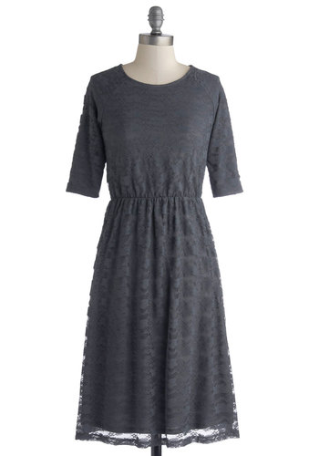 A for Effortless Dress - Long, Knit, Grey, Solid, Lace, Casual, A-line, Short Sleeves, Good, Scoop, Lace