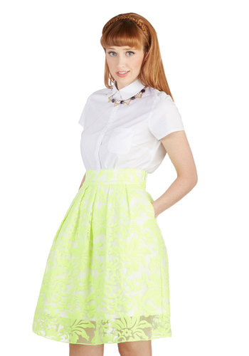 Best in Glow Skirt - Yellow, Floral, Lace, Party, Neon, Best, Knit, Mid-length, Sheer, Yellow, Pockets, Pleats, Daytime Party, Lace, High Waist, Full, Spring, Summer