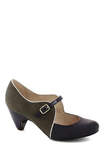 How's About It Heel in Moss by Chelsea Crew - Mid, Faux Leather, Green, Black, Party