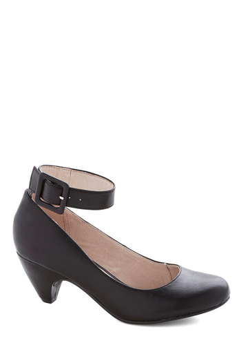 Everywhere It Well Heel by Chelsea Crew - Mid, Faux Leather, Black, Solid, Buckles, Party, Work
