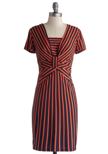 Defining Glamour Dress in Tangerine - Knit, Mid-length, Orange, Blue, Stripes, Ruching, Work, Shift, Short Sleeves, Better