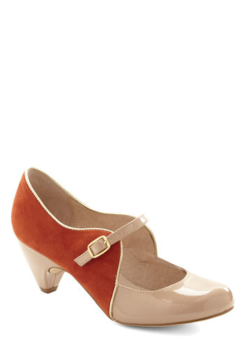 How's About It Heel in Orange by Chelsea Crew - Mid, Faux Leather, Orange, Tan / Cream, Party