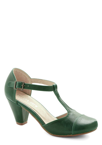 Green Room Heel by Chelsea Crew - Mid, Faux Leather, Green, Solid