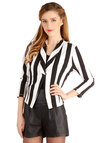 Bring On the Bold Blazer by Jack by BB Dakota - Knit, Short, 1, Stripes, Party, Urban, 3/4 Sleeve, Good, Black, 3/4 Sleeve, Black, White, Press Placement