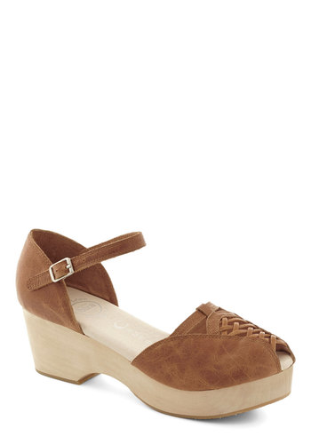 Independent Pose Heel by Jeffrey Campbell - Mid, Leather, Tan, Solid, Woven, Boho, Spring, Summer, Best, Wedge, Peep Toe, Platform, Cutout, Festival