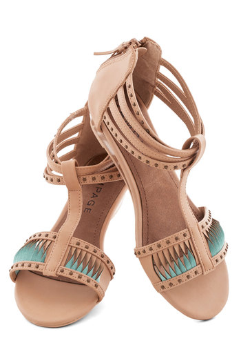 The Tides Have Twisted Wedge - Low, Faux Leather, Tan, Blue, Solid, Cutout, Studs, Spring, Summer, Good, Strappy, T-Strap, Wedge