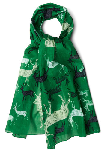 The Gang's All Deer Scarf by Disaster Designs - Green, Multi, Print with Animals, Casual, Rustic, Better, Cotton, International Designer
