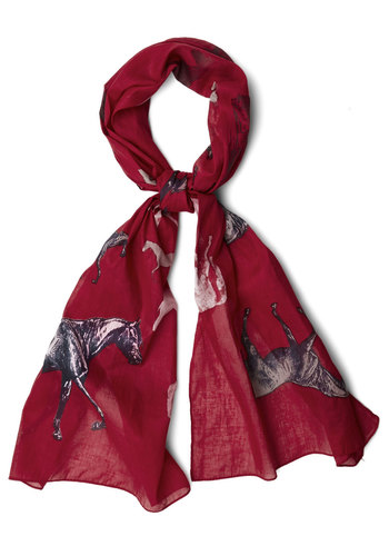 Night at the Races Scarf by Disaster Designs - Red, Multi, Print with Animals, Casual, Better, International Designer