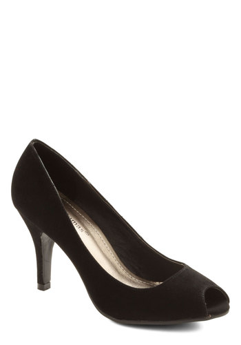 Very Versatile Heel - Mid, Black, Solid, Party, Work, Cocktail, Girls Night Out, Holiday Party, Graduation, Valentine's, Minimal, Good, Peep Toe, Basic