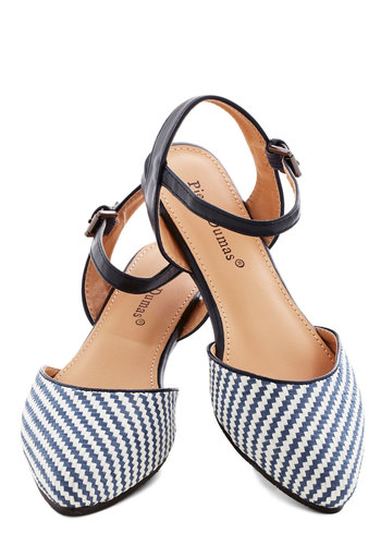 Drift and Dream Flat - Flat, Faux Leather, Blue, Stripes, Woven, Beach/Resort, Spring, Summer, Good, White, Chevron, Daytime Party, Nautical