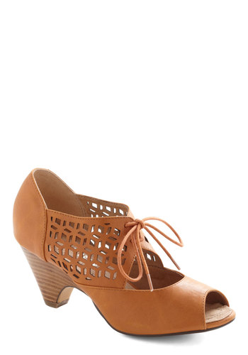 Cube Your Enthusiasm Heel in Spice by Chelsea Crew - Mid, Faux Leather, Solid, Cutout, Party, Daytime Party, Vintage Inspired, 20s, 30s, Better, Peep Toe, Tan, Lace Up, Variation