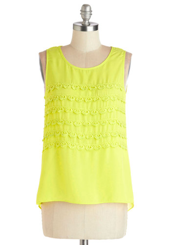 Rita-ing Club Top - Yellow, Solid, Lace, Sleeveless, Good, Chiffon, Sheer, Woven, Mid-length, Neon, Festival, Spring, Summer, Yellow, Sleeveless, Lace, Beach/Resort