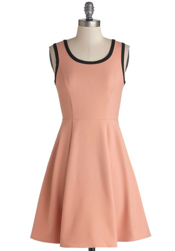 Treat and Greet Dress - Mid-length, Knit, Pink, Black, Cutout, A-line, Tank top (2 thick straps), Good, Scoop, Spring, Pastel, Casual, Girls Night Out