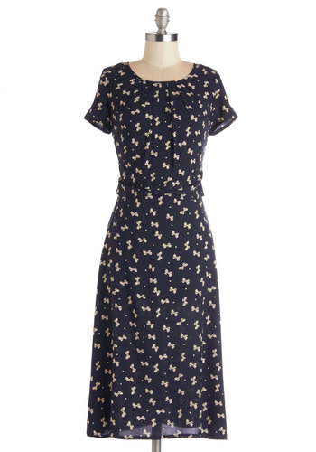Just Bow with It Dress - Blue, Novelty Print, Shift, Short Sleeves, Good, Scoop, Woven, Long, Tan / Cream, Bows, Work, Summer