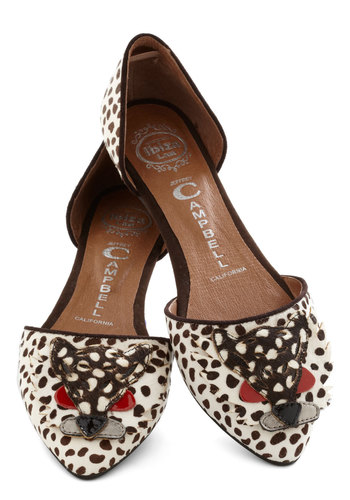 Eye of the Tigress Flat by Jeffrey Campbell - Flat, Leather, Red, Animal Print, Print with Animals, Quirky, Cats, Critters, Best, Brown, Tan / Cream, Suede