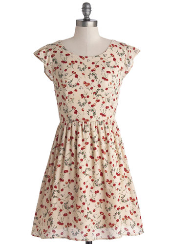 Drupe Dynamics Dress - Chiffon, Woven, Mid-length, Tan, Red, Green, Novelty Print, Bows, Cutout, Casual, Fruits, A-line, Cap Sleeves, Spring