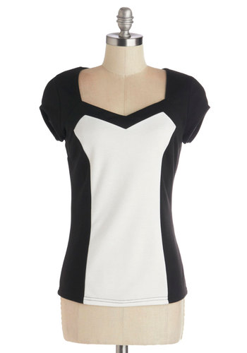 Cast a Wide Network Top - Knit, Mid-length, Black, Solid, White, Work, Cap Sleeves, Exclusives, Black, White, Short Sleeve