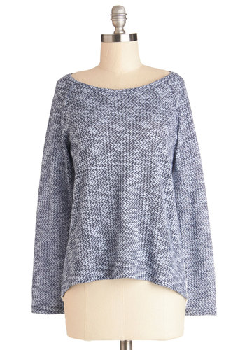 The Morning, The Merrier Top - Sheer, Knit, Mid-length, Good, Blue, Long Sleeve, Blue, White, Lace, Casual, Long Sleeve, Lace