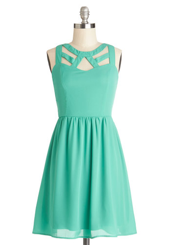 A Bright Date Night Dress - Mid-length, Chiffon, Woven, Solid, Cutout, Party, A-line, Sleeveless, Good, Green, Exposed zipper