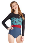 Smooth Surfing One Piece in Palms by Seea - Knit, Multi, Print, Beach/Resort, Long Sleeve