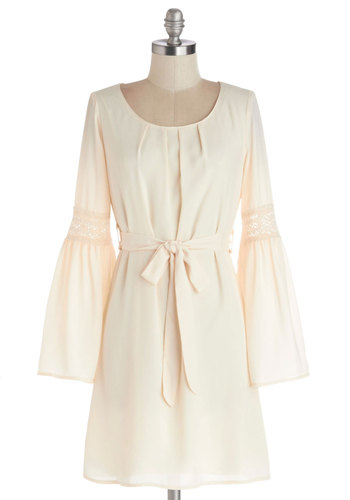Natural Rhythms Dress - Short, Chiffon, Sheer, Woven, Cream, Solid, Crochet, Belted, Casual, Boho, A-line, Long Sleeve, Good