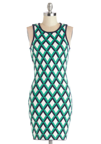 Time Will Trellis Dress - Cotton, Knit, Multi, Print, Exposed zipper, Party, Bodycon / Bandage, Sleeveless, Good, Crew, Green, Blue, White, Mini, Girls Night Out, Mid-length