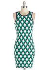 Time Will Trellis Dress - Cotton, Knit, Mid-length, Multi, Print, Exposed zipper, Party, Bodycon / Bandage, Sleeveless, Good, Crew, Green, Blue, White, Mini
