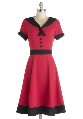 Come As You Aura Dress - Woven, Long, Red, Black, Buttons, Trim, Casual, A-line, Short Sleeves, Better, V Neck, Tie Neck, Nautical, Pinup, Vintage Inspired, 40s, 50s