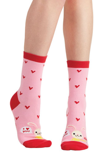Honey Bunny Socks - Knit, Red, Pink, Multi, Print with Animals, Casual, Valentine's, Critters, Good, Kawaii, Spring