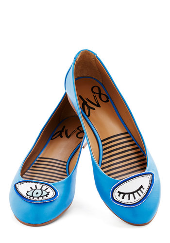 Icon Do Anything Flat in Eye by Dolce Vita - Flat, Blue, Quirky, Good, White, Novelty Print, Gals