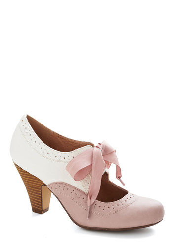 Book Signing Soiree Heel in Pink by Chelsea Crew - Mid, Faux Leather, Pink, Solid, Wedding, Party, Daytime Party, Valentine's, Vintage Inspired, 20s, 30s, Better, Tan / Cream, Spring