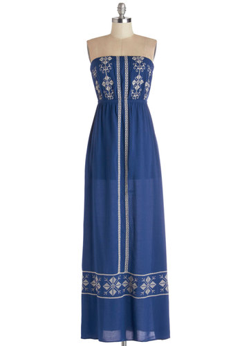 Alpine View Dress - Cotton, Woven, Long, Blue, White, Embroidery, Beach/Resort, Maxi, Strapless, Festival
