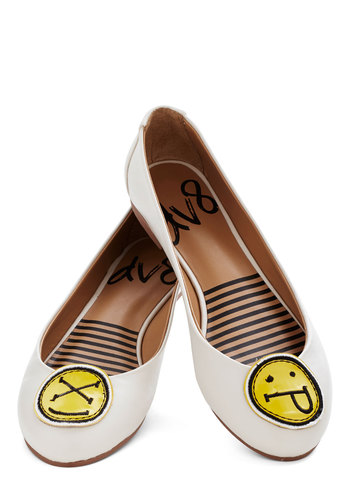 Icon Do Anything Flat in Smiley by Dolce Vita - Flat, Faux Leather, Cream, Yellow, Solid, Quirky, Good, Novelty Print, Gals