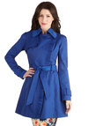 Metropolitan Miss Coat in Cobalt - Woven, 2, Blue, Solid, Ruffles, Belted, Spring, Long